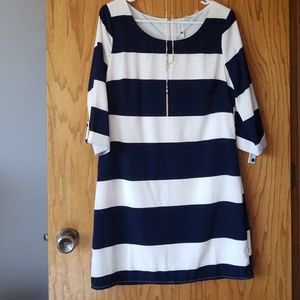 Striped Sheath Dress 3/4 sleeve dress